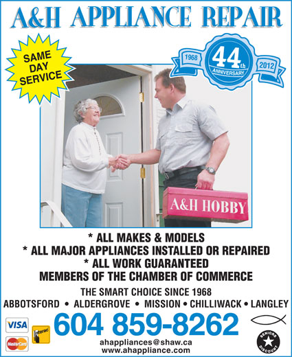 A Amp H Hobby Electronics Appliance Repair Canpages