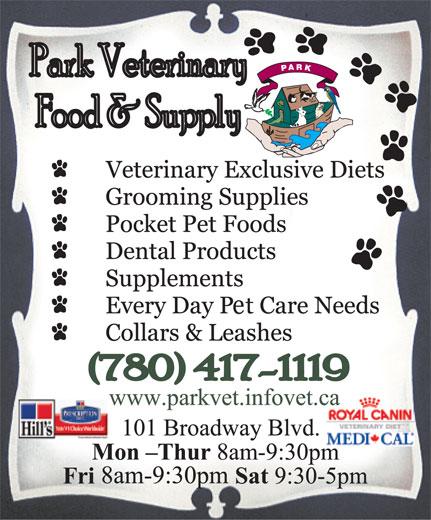 Park Veterinary Centre (780-417-1119) - Annonce illustrée======= -