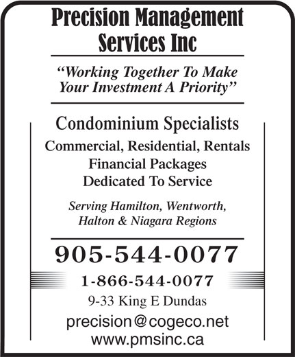 Precision Management Services (905-544-0077) - Display Ad -