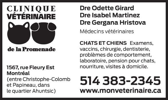 Clinique vétérinaire de la Promenade (514-383-2345) - Annonce illustrée======= -
