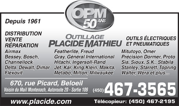 Outillage Placide Mathieu (450-467-3565) - Display Ad -