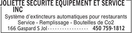 Joliette Sécurité Equipement Et Service Inc (450-759-1812) - Annonce illustrée======= - Système d'extincteurs automatiques pour restaurants Service - Remplissage - Bouteilles de Co2  Système d'extincteurs automatiques pour restaurants Service - Remplissage - Bouteilles de Co2