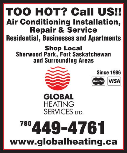 Global Heating Services Ltd (780-449-4761) - Annonce illustrée======= -