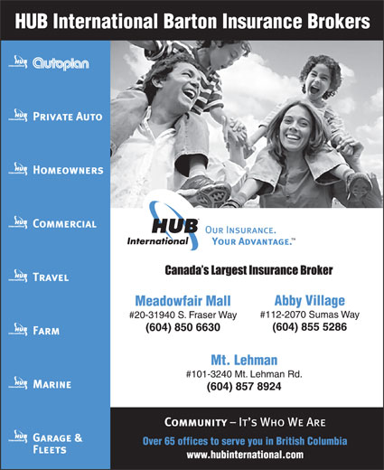 HUB International Barton Insurance Brokers (604-855-5286) - Annonce illustrée======= -