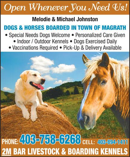 2M Bar Livestock & Boarding Kennels (403-758-6268) - Display Ad -