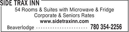 Side Trax Inn (780-354-2256) - Annonce illustrée======= - 54 Rooms & Suites with Microwave & Fridge Corporate & Seniors Rates www.sidetraxinn.com