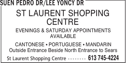 Suen Pedro Dr. / Lee Yoncy Dr. (613-745-4224) - Display Ad -