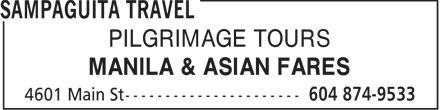Sampaguita Travel (604-874-9533) - Annonce illustrée======= - PILGRIMAGE TOURS MANILA & ASIAN FARES  PILGRIMAGE TOURS MANILA & ASIAN FARES