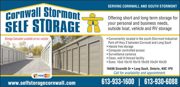 Cornwall Stormont Self Storage (613-933-1600) - Annonce illustrée======= -