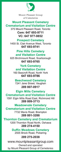 Mount Pleasant Group (416-221-3404) - Display Ad - Crematorium and Visitation Centre Crematorium and Visitation Centre Thornton Cemetery and Crematorium www.mountpleasantgroup.com Owned and operated by Mount Pleasant Group of Cemeteries