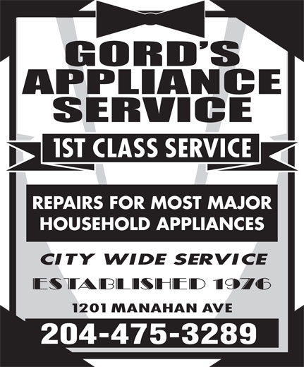 Gord's Appliance Service (204-475-3289) - Display Ad - REPAIRS FOR MOST MAJOR HOUSEHOLD APPLIANCES 204-475-3289 REPAIRS FOR MOST MAJOR HOUSEHOLD APPLIANCES 204-475-3289