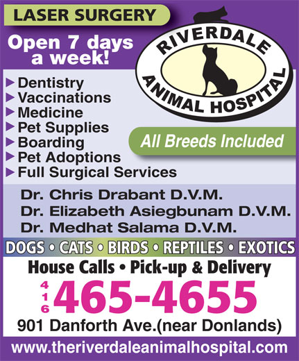 Riverdale Animal Hospital (416-465-4655) - Display Ad - LASER SURGERY Open 7 daysOpen 7 days a week! Dentistry Vaccinations Medicine Pet Supplies All Breeds Included Boarding Pet Adoptions Full Surgical Services Dr. Chris Drabant D.V.M. Dr. Elizabeth Asiegbunam D.V.M. Dr. Medhat Salama D.V.M. DOGS   CATS   BIRDS   REPTILES   EXOTICS House Calls   Pick-up & Delivery 465-4655 901 Danforth Ave.(near Donlands) www.theriverdaleanimalhospital.com