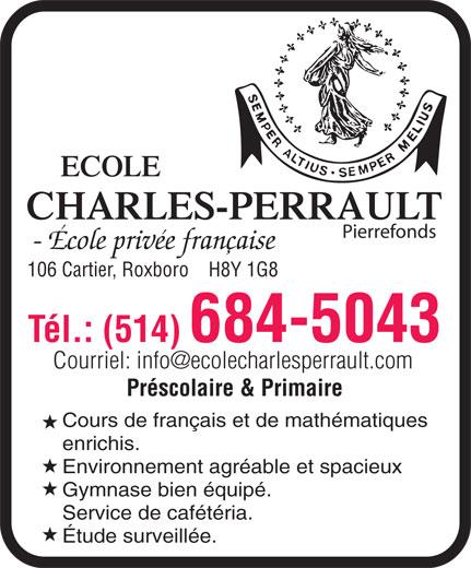 Ecole Charles-Perrault (Pierrefonds) (514-684-5043) - Display Ad -