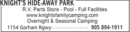 Knight's Hide-Away Park (905-894-1911) - Annonce illustrée======= - R.V. Parts Store - Pool - Full Facilities www.knightsfamilycamping.com Overnight & Seasonal Camping