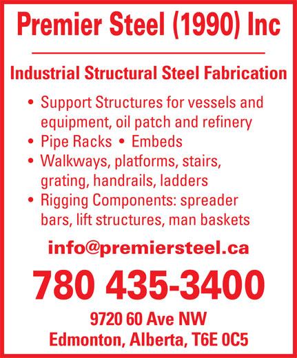 Premier Steel (1990) Inc (780-435-3400) - Annonce illustrée======= -