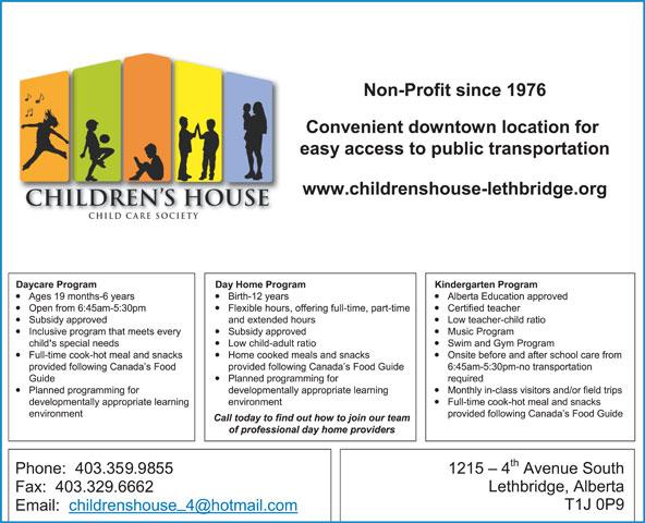 The Children's House (403-328-5553) - Annonce illustrée======= -