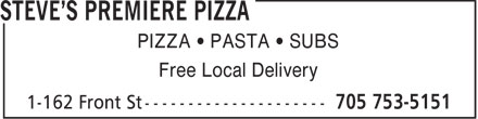 Steve's Premiere Pizza (705-753-5151) - Display Ad -