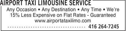 Airport Taxi Limousine Service (416-264-7245) - Annonce illustrée======= -