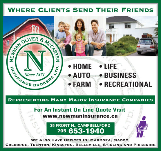 Newman Oliver & McCarten Insurance Brokers Ltd (705-653-1940) - Annonce illustrée======= -