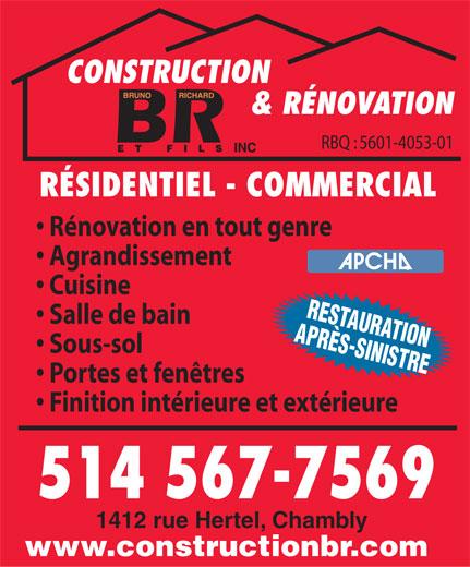 construction et renovation br et fils inc 1412 rue hertel chambly qc. Black Bedroom Furniture Sets. Home Design Ideas