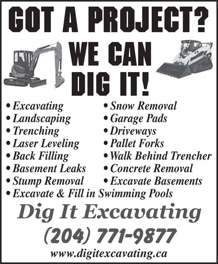 Dig It Excavating (204-771-9877) - Annonce illustrée======= -