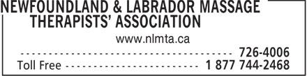 Newfoundland & Labrador Massage Therapists' Asso ciation (1-877-442-2468) - Annonce illustrée======= -