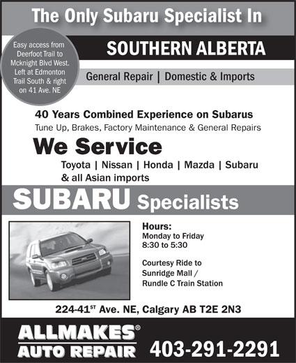 Ads Allmakes Auto Repair - Subaru Specialist