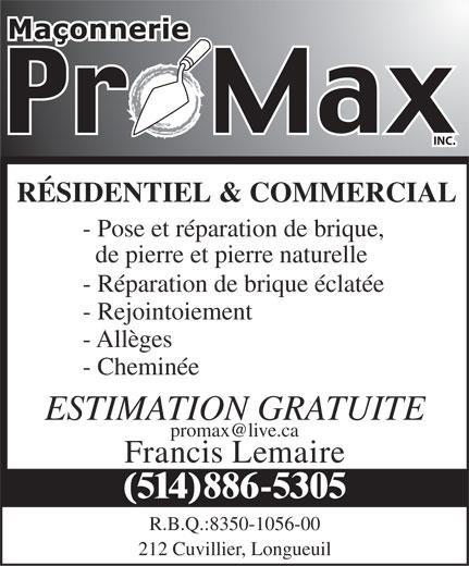 Maconnerie Promax Inc (514-886-5305) - Annonce illustrée======= -