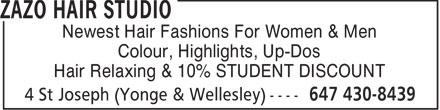 Zazo Hair Studio (647-430-8439) - Annonce illustrée======= - Newest Hair Fashions For Women & Men Colour, Highlights, Up-Dos Hair Relaxing & 10% STUDENT DISCOUNT  Newest Hair Fashions For Women & Men Colour, Highlights, Up-Dos Hair Relaxing & 10% STUDENT DISCOUNT