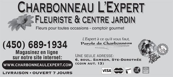 Charbonneau L'Expert Fleuriste (450-689-1934) - Display Ad -