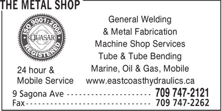 East Coast Hydraulics (709-747-2121) - Annonce illustrée======= - General Welding & Metal Fabrication Machine Shop Services Tube & Tube Bending Marine, Oil & Gas, Mobile 24 hour & Mobile Service www.eastcoasthydraulics.ca