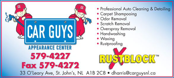 Car Guys Appearance Center (709-579-4227) - Display Ad -