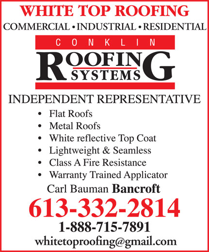White Top Roofing Inc. (613-332-2814) - Display Ad - COMMERCIAL   INDUSTRIAL   RESIDENTIAL whitetoproofinggmail.com