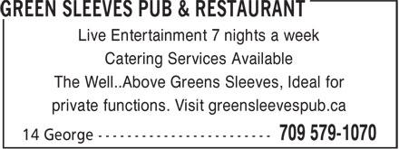 Green Sleeves (709-579-1070) - Annonce illustrée======= -