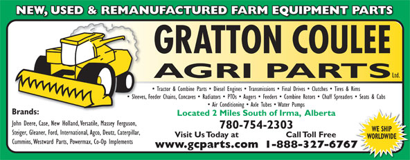 Gratton Coulee Agri Parts Ltd (780-754-2303) - Display Ad -