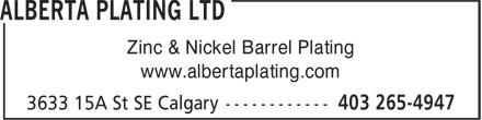 Alberta Plating Ltd (403-265-4947) - Display Ad - Zinc & Nickel Barrel Plating www.albertaplating.com