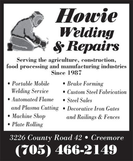 Howie Welding & Repairs (705-466-2149) - Display Ad -