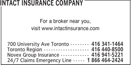 Intact Insurance Company (416-341-1464) - Annonce illustrée======= - For a broker near you, visit www.intactinsurance.com