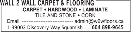 Wall 2 Wall Carpet & Flooring (604-898-9645) - Display Ad -