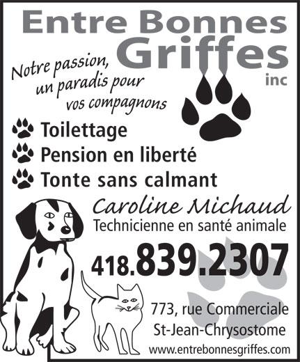 Entre Bonnes Griffes (418-839-2307) - Display Ad -