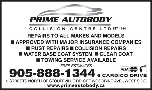 Prime Autobody Collision Centre (905-888-1344) - Display Ad - www.primeautobody.ca EST. 1984