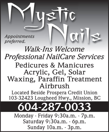 Mystic Nails (604-287-0033) - Display Ad -
