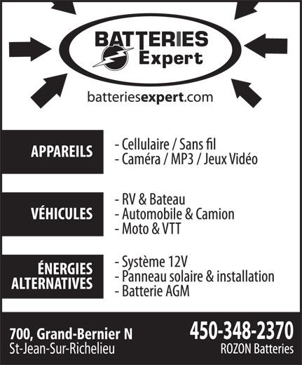 Batteries Expert (450-348-2370) - Annonce illustrée======= - 700, Grand-Bernier N St-Jean-Sur-Richelieu 700, Grand-Bernier N St-Jean-Sur-Richelieu