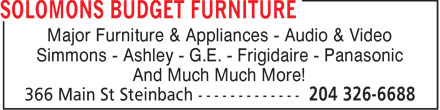Solomons Budget Furniture (204-326-6688) - Annonce illustrée======= - Major Furniture & Appliances - Audio & Video Simmons - Ashley - G.E. - Frigidaire - Panasonic And Much Much More!
