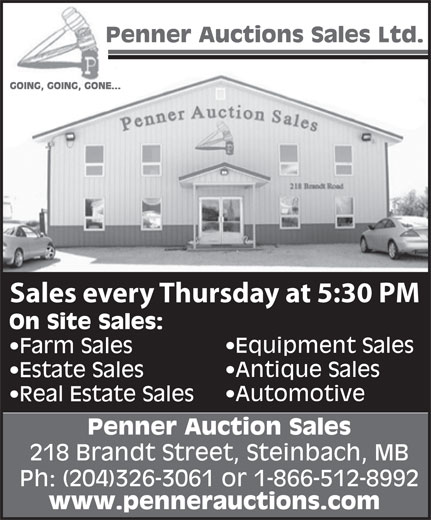 Penner Auction Sales Ltd (204-326-3061) - Display Ad - Sales every Thursday at 5:30 PM