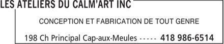 Ads Imprimerie Ateliers Du Calm'Art Inc