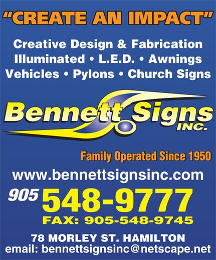 Bennett Signs Inc (905-548-9777) - Display Ad -