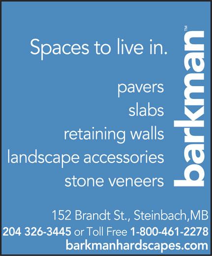 Barkman Concrete Ltd (204-326-3445) - Annonce illustrée======= -