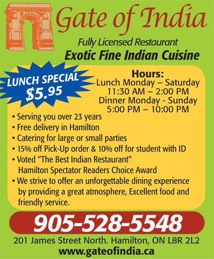 Gate Of India (905-528-5548) - Display Ad -