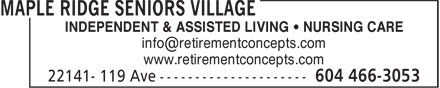 Ads Maple Ridge Seniors Village